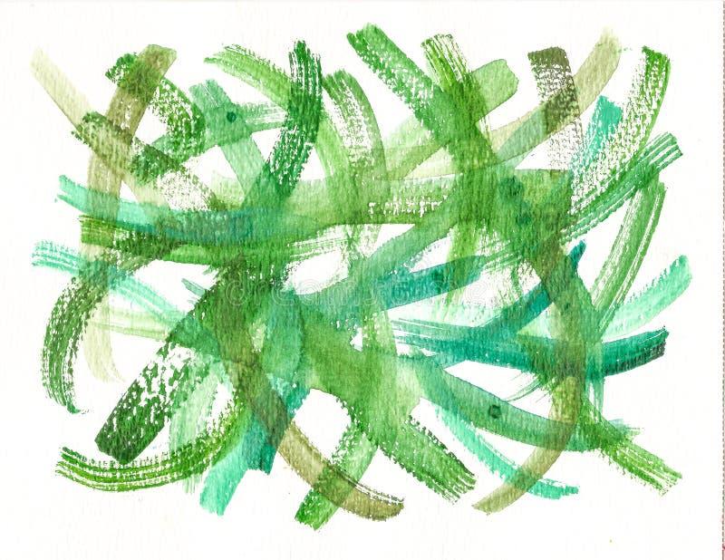 Handmade zielony akwareli muśnięcie muska tło ilustracja wektor