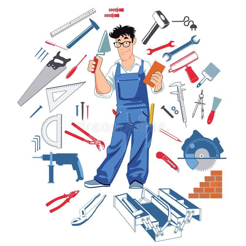Handman с инструментами бесплатная иллюстрация