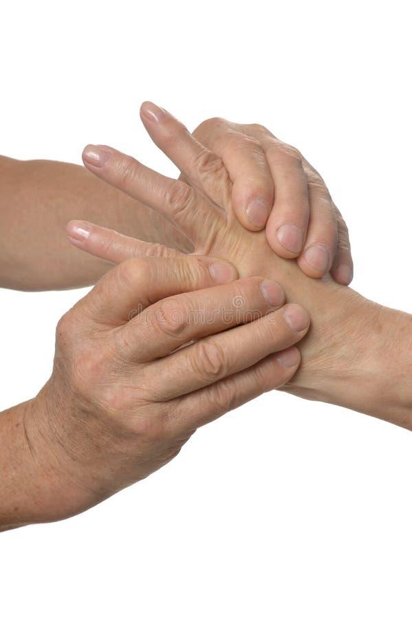 Handmassagenahaufnahme stockfoto