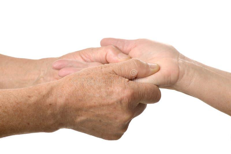 Handmassagenahaufnahme stockfotografie