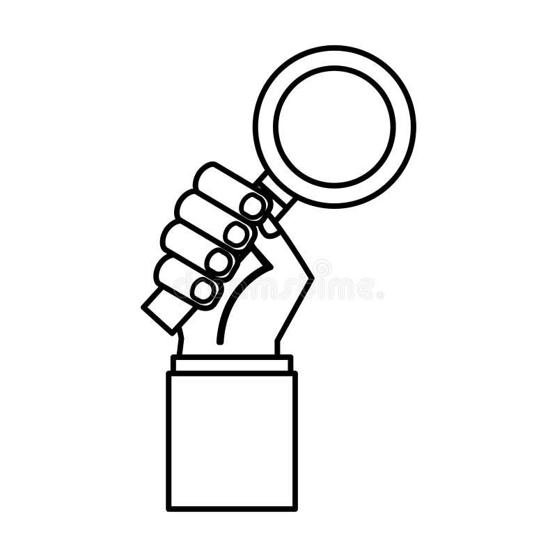 Handmensch mit Suchlupenikone lizenzfreie abbildung