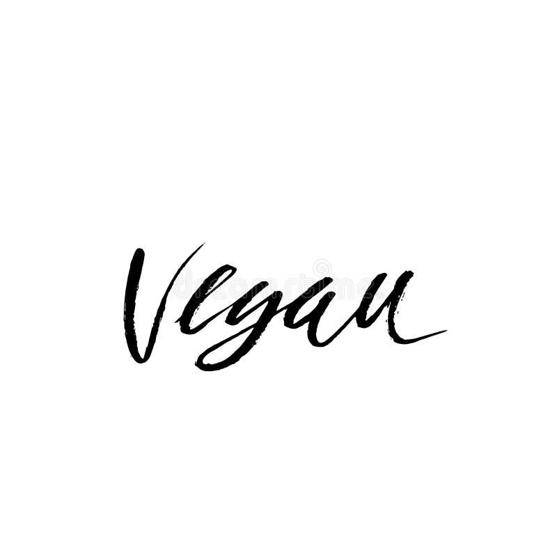 Handmit buchstaben gekennzeichnete Aufschrift vegan Hand gebürstete Tintenbeschriftung Moderne Bürstenkalligraphie Auch im corel  stock abbildung