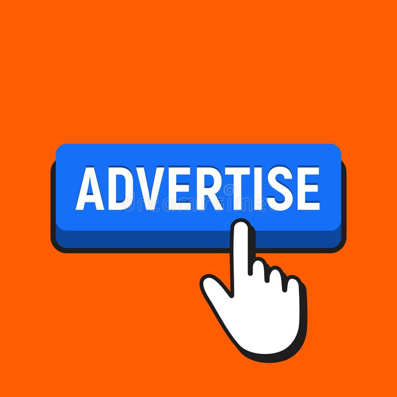 Handmusmarkören klickar annonseringsknappen vektor illustrationer