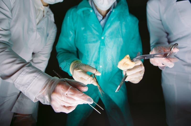 Handnärbild av kirurger som rymmer medicinska instrument Kirurgen g?r en operation arkivbilder
