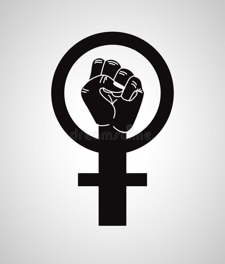 Handnäve med kvinnligt genussymbol stock illustrationer