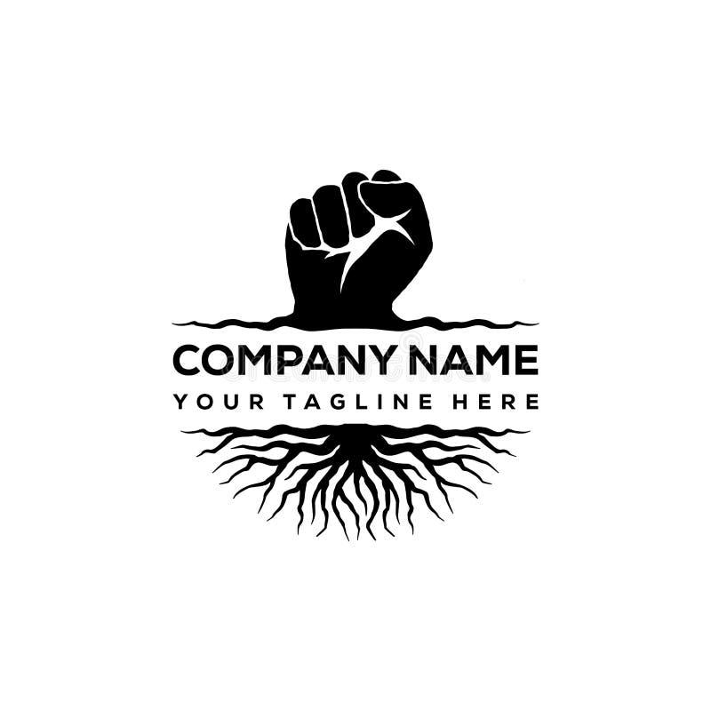 Handnäve och att rota logodesigninspiration - rebellisk logodesigninspiration stock illustrationer