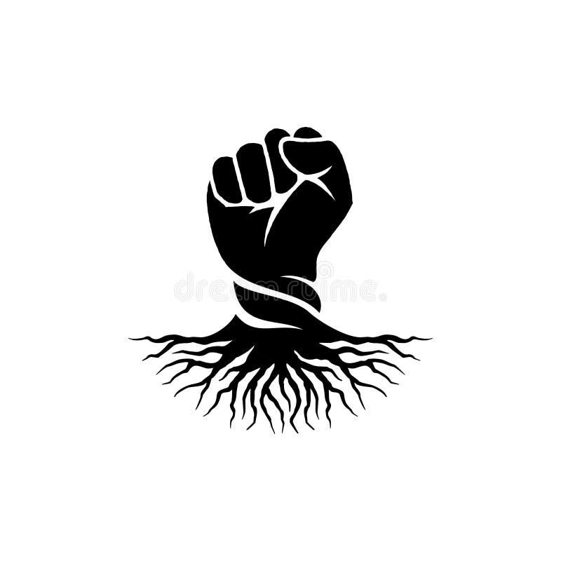 Handnäve och att rota logodesigninspiration - rebellisk logodesigninspiration royaltyfri illustrationer