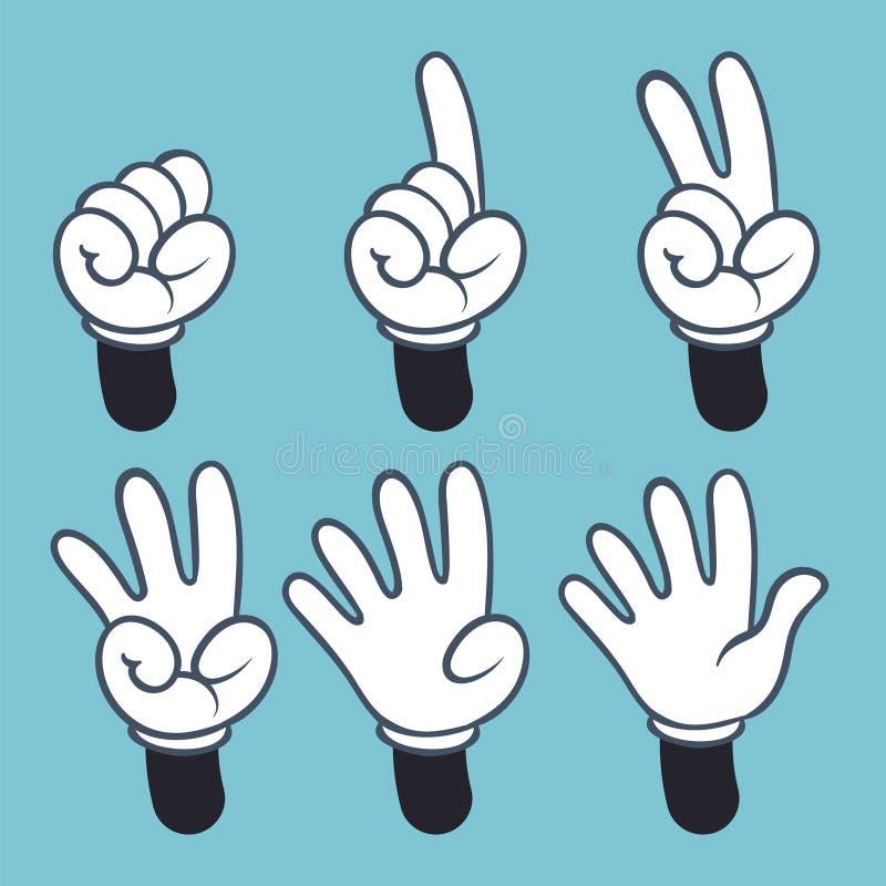 Handnummer Tecknad filmhandfolket i handsken, teckenspråk gömma i handflatan två tre en räkning för fyra finger, vektorillustrati stock illustrationer