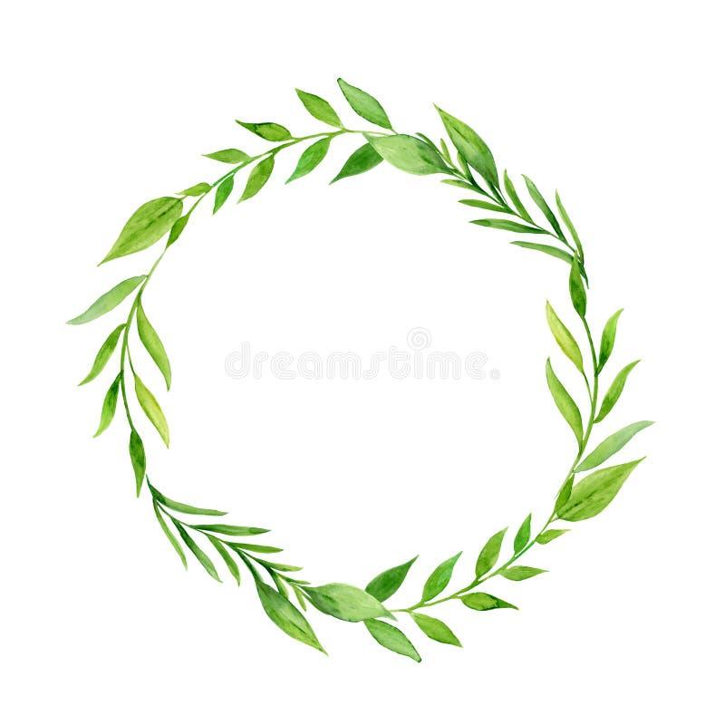 Handpainted венок акварели с листьями и завтрак-обедами иллюстрация вектора