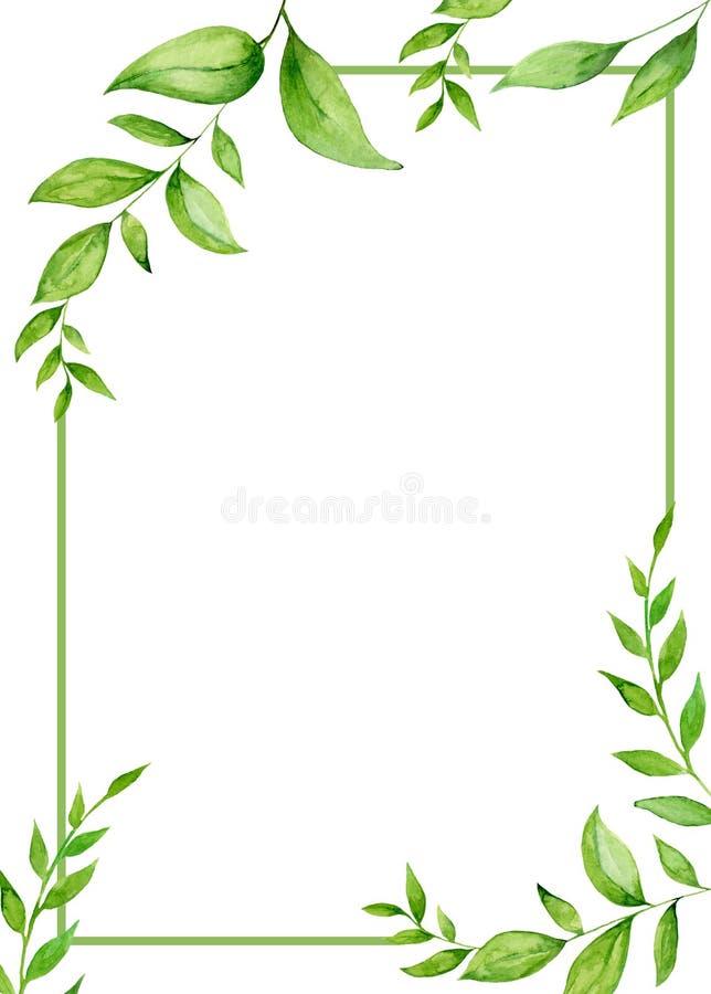 Handpainted рамка акварели с листьями и завтрак-обедами иллюстрация штока