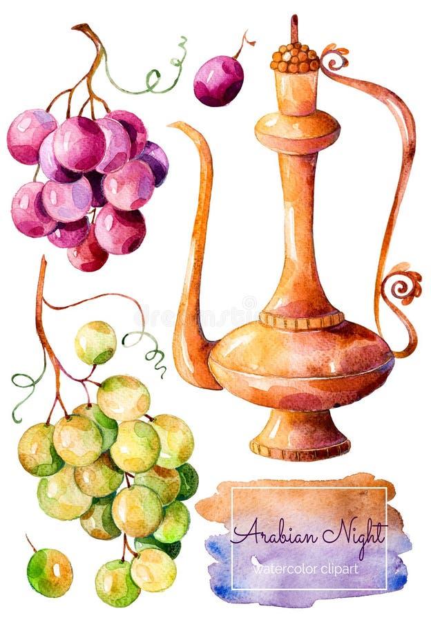 Handpainted akwareli kolekcja z złocistym ewer i wiązka winogrona royalty ilustracja