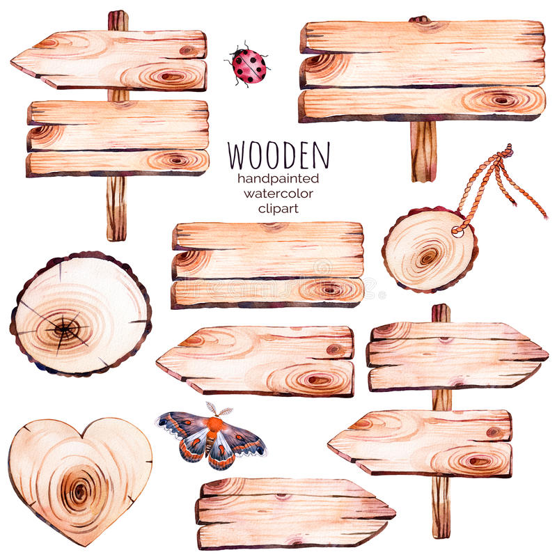 This handpainted collection of 9 watercolor wood slices clipart. stock illustration
