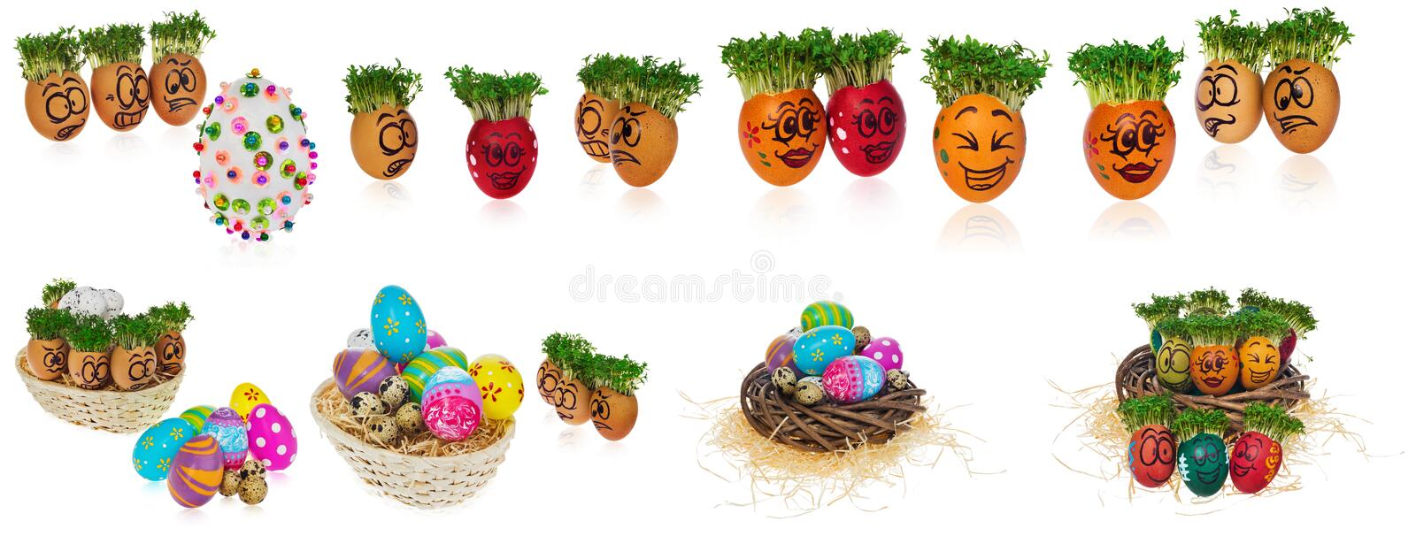 Handpainted Easter eggs in funny scared and surprised cartoonish faces in the basket with cress like hair look at the outstanding royalty free stock image