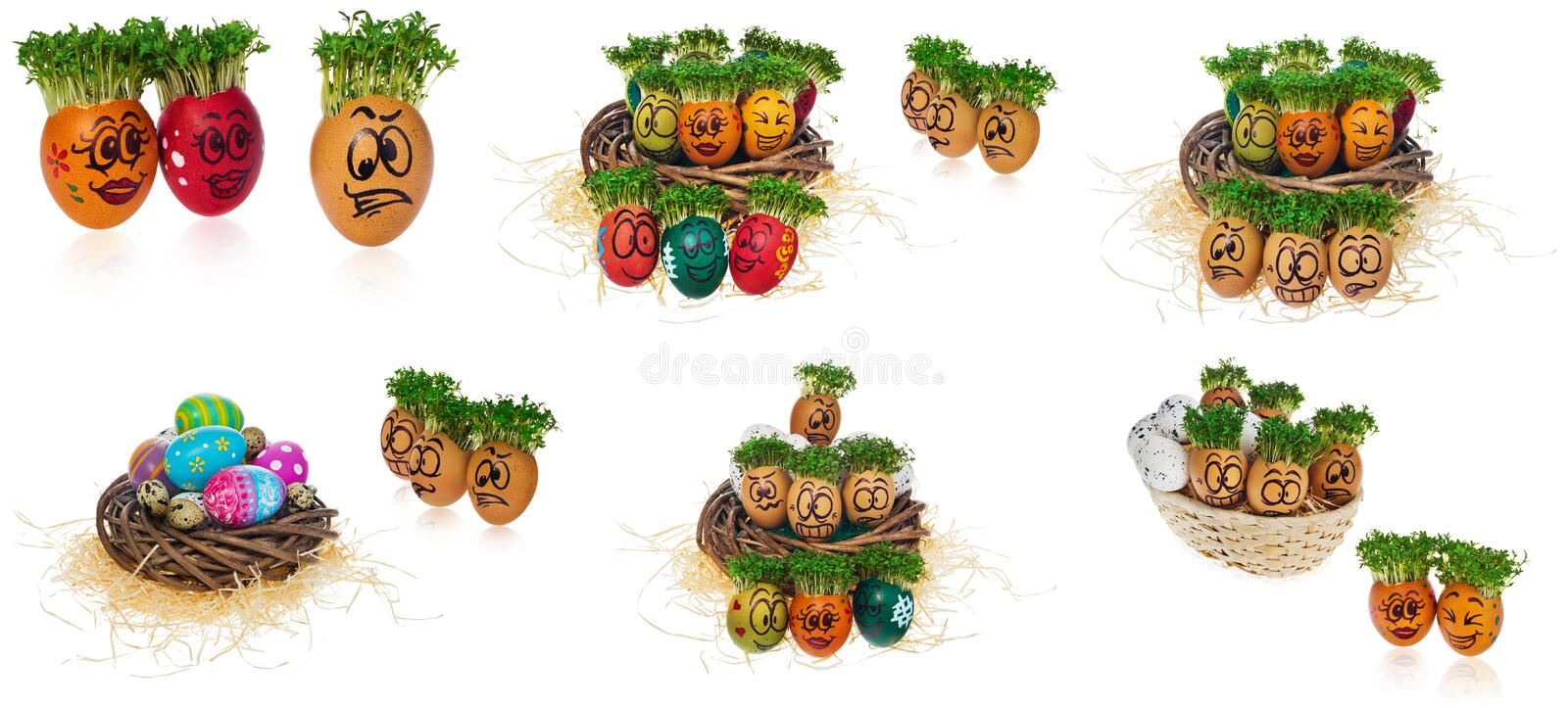 Handpainted Easter eggs in funny scared and surprised cartoonish faces in the basket with cress like hair look at the outstanding royalty free stock images
