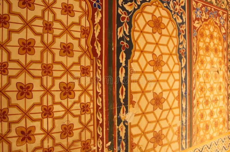 A handpainted mural on a wall. In one of the Haveli`s of Mandawa, India stock images