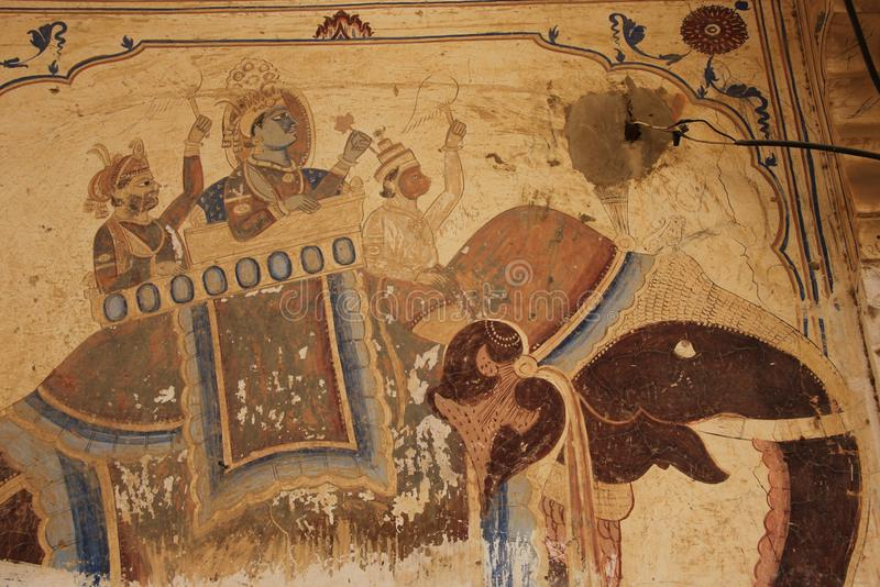 A handpainted mural on a wall. In one of the Haveli`s of Mandawa, India royalty free stock photos