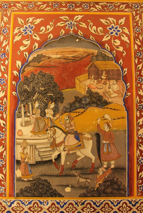A handpainted mural on a wall. In one of the Haveli`s of Mandawa, India stock photos
