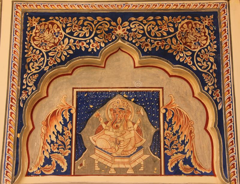 A handpainted mural on a wall. In one of the Haveli`s of Mandawa, India stock image