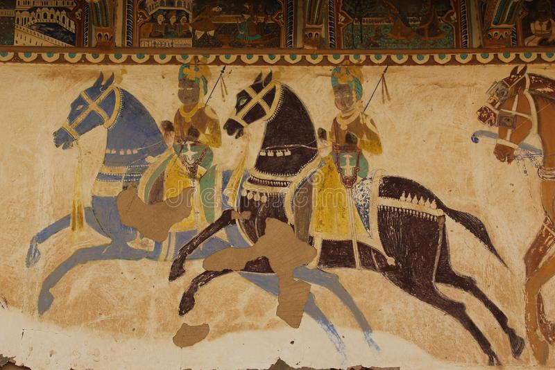 A handpainted mural on a wall. In one of the Haveli`s of Mandawa, India royalty free stock image