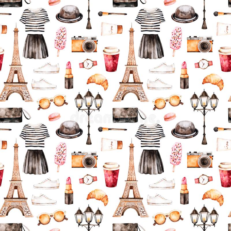Handpainted tekstura z pasiastym wierzchołkiem, kosmetyki, wycieczka turysyczna Eiffel, kawa, buty, spódnica, torba royalty ilustracja