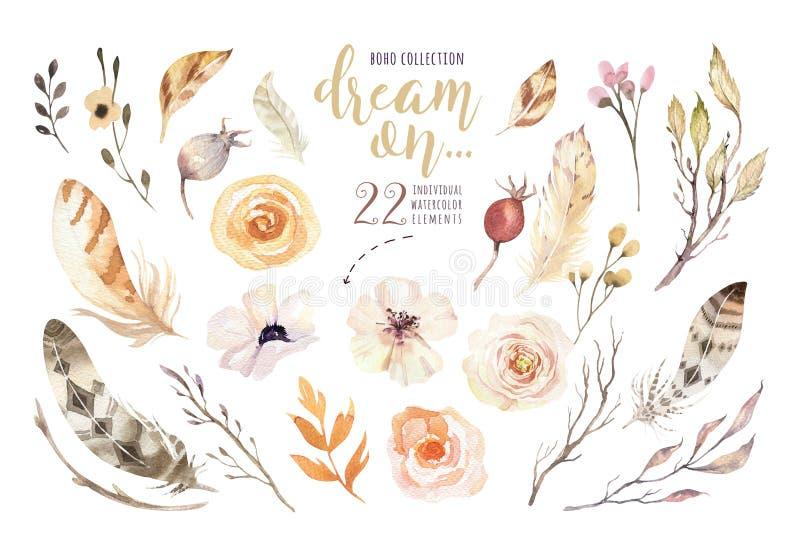Handpainted vattenfärgblommauppsättning i tappningstil Göra perfekt för hälsningkort, bröllopinbjudan, blomningvattenfärg stock illustrationer