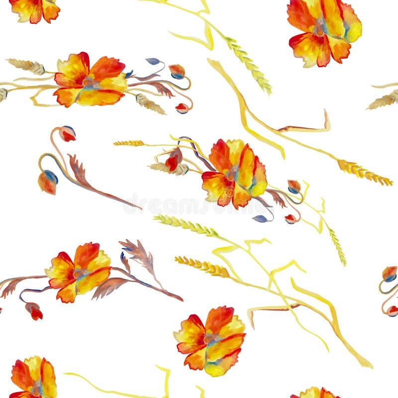 Handpainted vattenfärgvektorillustration av vallmo, gräs och vektor illustrationer