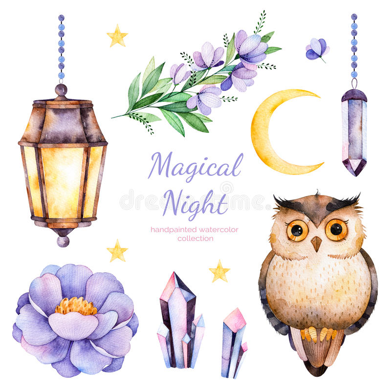 Handpainted watercolor flowers,leaves,moon and stars,night lamp,crystals and cute owl. royalty free illustration