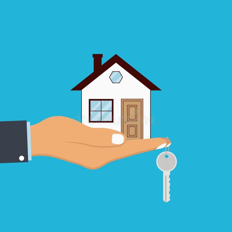 Handpalme hält Haus und Schlüssel auf Finger Konzept für Hauptmittel, Verkauf und Miete eines Hauses Vektor lizenzfreie abbildung