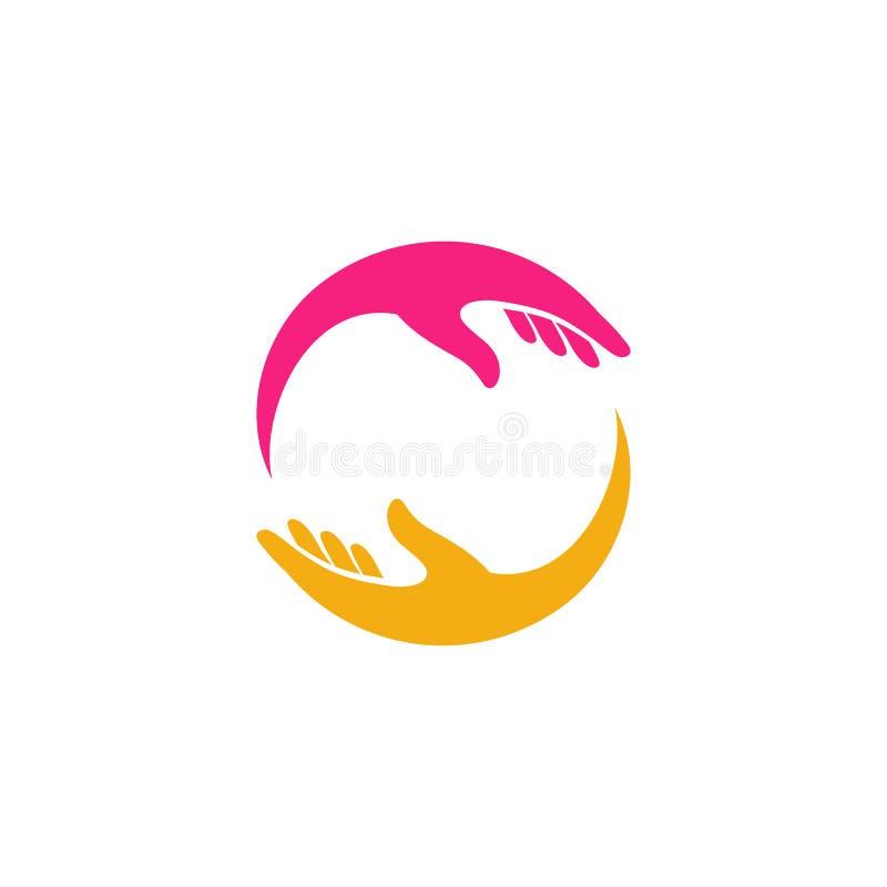 Handpflege Logo Design Template Handpflegevektorikone lizenzfreie abbildung