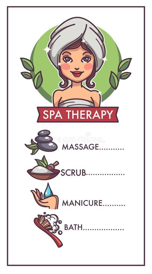 Handpflege, Maniküre, Bad, Badekurort und Massage, Vektorschablone für stock abbildung