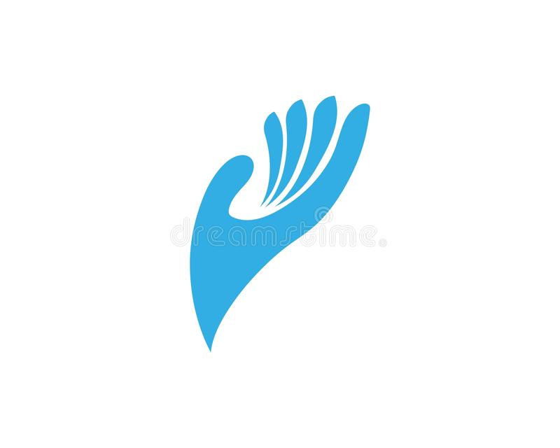 Handpflegelogo und Symbolschablonenikone lizenzfreie abbildung