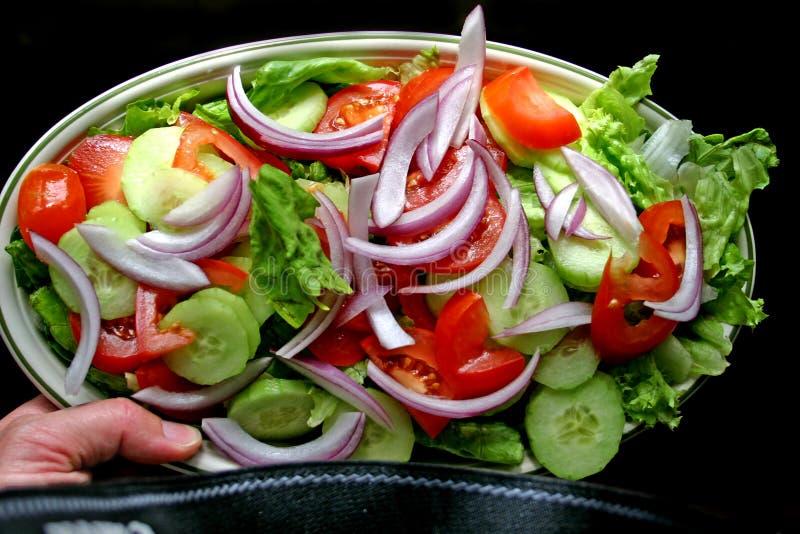 Handplatte des Salats stockbilder