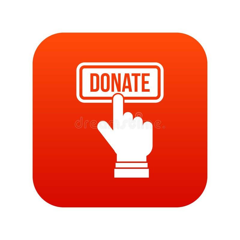 Handpressar knäppas för att donera digitalt rött för symbol royaltyfri illustrationer