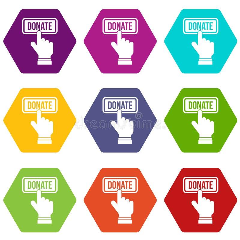 Handpressar knäppas för att donera hexahedron för symbolsuppsättningfärg royaltyfri illustrationer