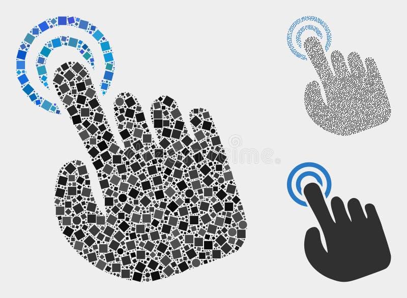 Handpresse-Aktions-Ikonen-Mosaiken von Quadraten und von Kreisen stock abbildung