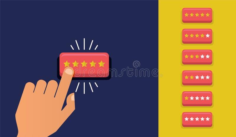 Handpresse der Sternknopf Kundenrezensionskonzept Veranschlagende goldene Sterne Feedback, Ansehen und Qualitätskonzept stock abbildung