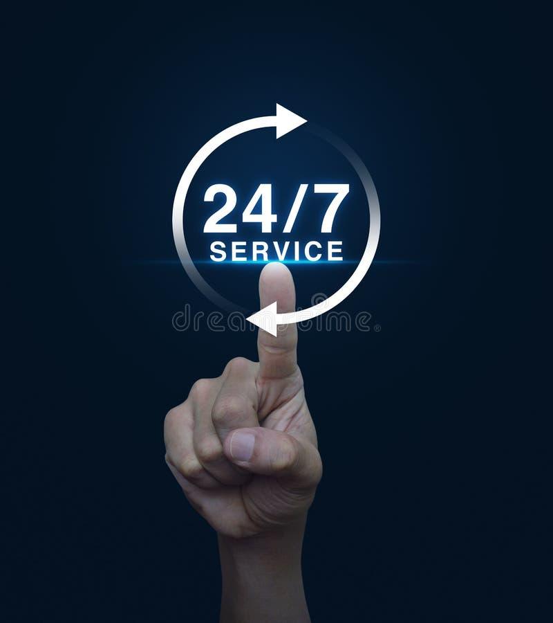 Handpressenknopf 24 Stunden halten Ikone auf blauem Hintergrund, F instand stockbild