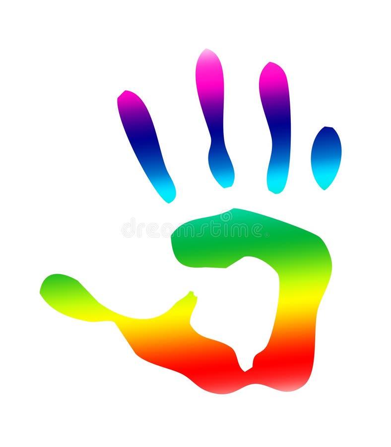 handprint查出的彩虹 库存例证