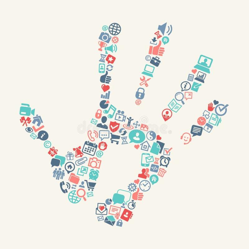 Handprint с предпосылкой значков сети иллюстрация вектора
