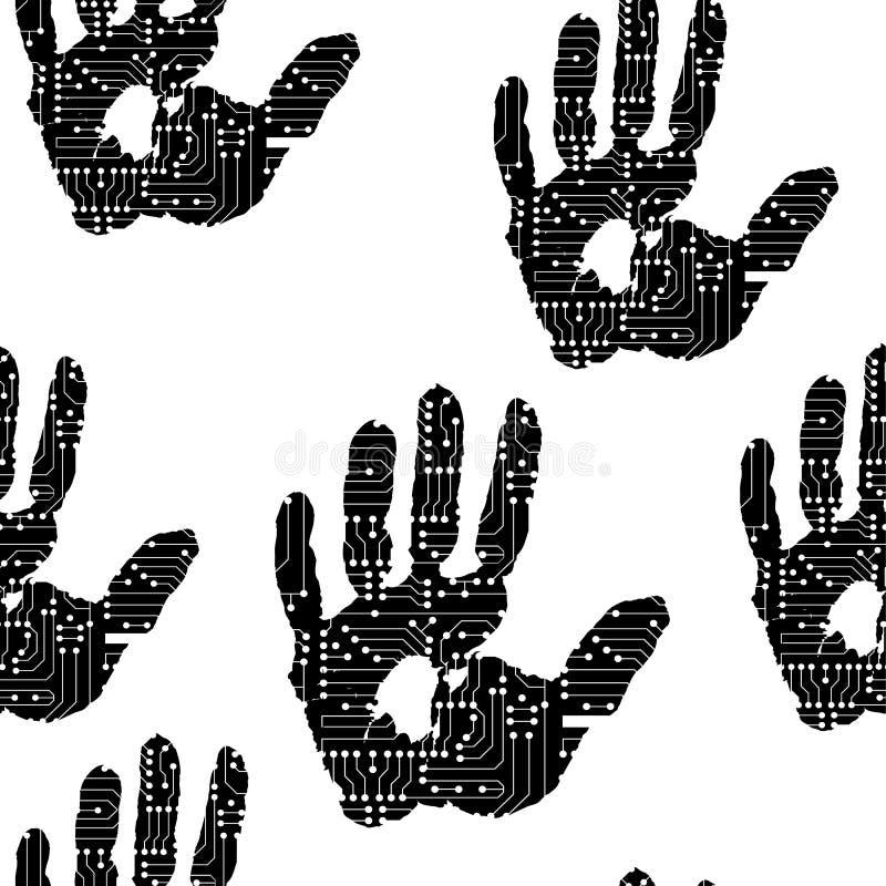 Handprint с электронной картиной доски иллюстрация вектора