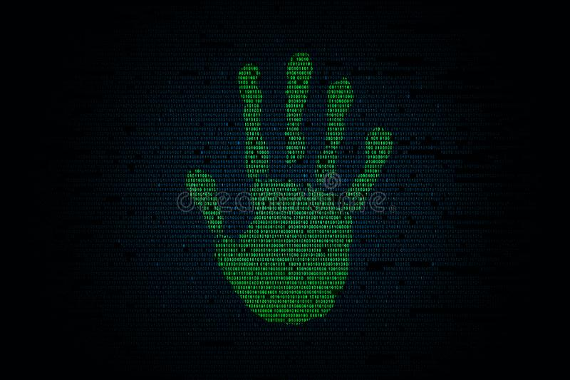 Handprint with binary code background stock illustration