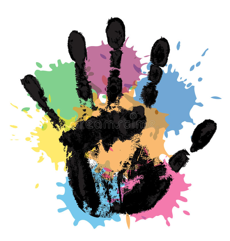 Handprint and blots. Handprint on the background of multi-colored blobs stock illustration