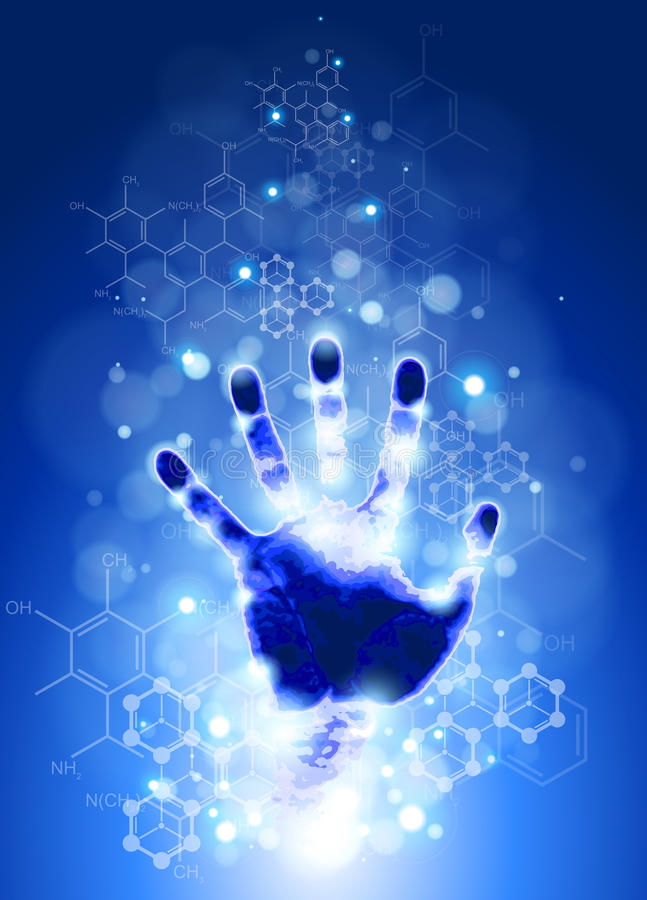 Handprint and chemical formulas. Handprint, blue background, lights and chemical formulas royalty free illustration
