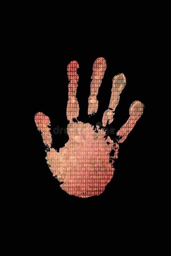 Handprint com fundo do código binário ilustração stock