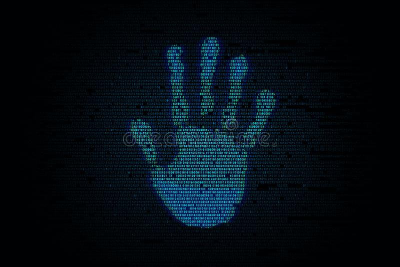 Handprint com fundo do código binário