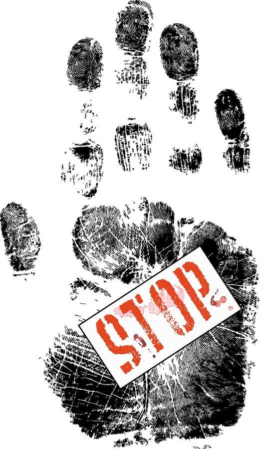 Handprint com sinal do batente ilustração royalty free