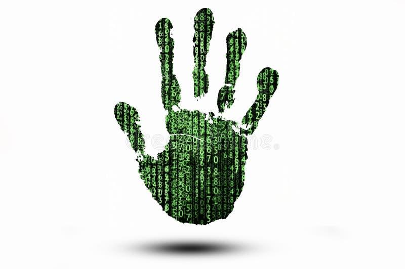 Handprint con el fondo del código binario