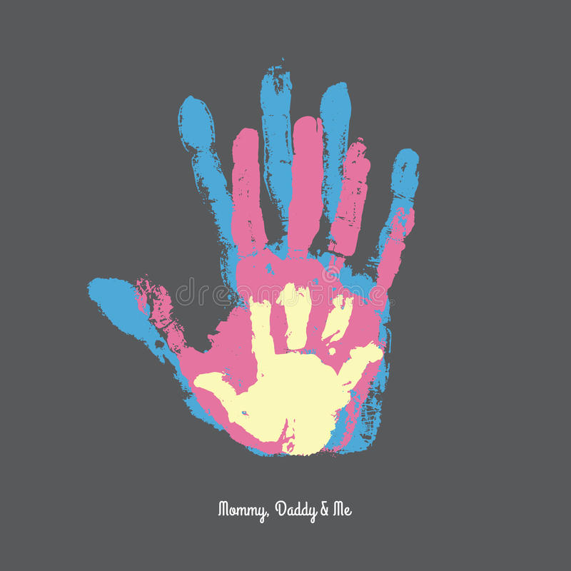 Handprint d'aquarelle de famille illustration de vecteur