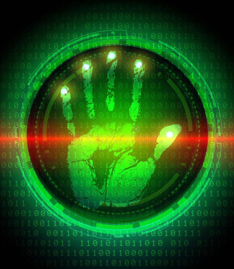 Handprint and data protection on digital screen royalty free illustration