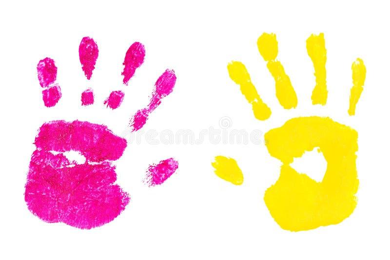 Handprint de los niños aislados en un fondo blanco ilustración del vector